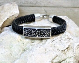 Braided Leather and Polished Steel  Hook Closure Bracelet, Unique Men's Cultured Jewelry, Boyfriend Bracelet,  Gift for Him