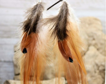 Natural Saddle Feather Earrings, Golden Ringneck Pheasant Plumage Caramel Brown Accessory Boho Chic Style Long Gypsy Festival Jewelry