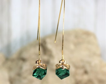 Wishbone Cube May Green Birthstone Drop Earrings, Formal Wear Square Bead Accessory, Classic Unique Gold Jewelry, Gift for Her