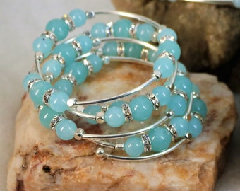 Aquamarine Crystal  Bracelet with Crystals