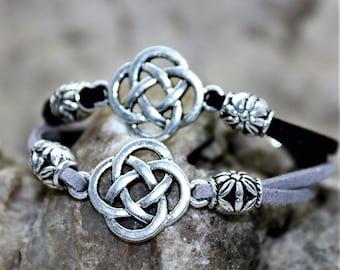 Celtic Eternity Bracelet, Celtic Strength Dara Knot, Unisex Suede Bracelet, Celtic Infinity Knot, Gender Neutral, Gift for Him, Gift for Her