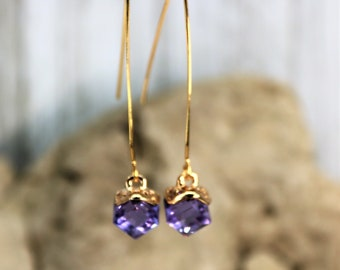 Wishbone Cube June Lavender Birthstone Drop Earrings, Formal Wear Square Bead Accessory, Classic Unique Gold Jewelry, Gift for Her