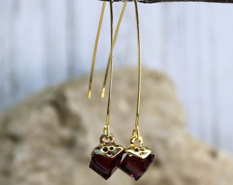 Wishbone Cube February Birthstone Drop Earrings, Formal Wear Square Bead Accessory, Classic Unique Gold Jewelry, Gift for Her,