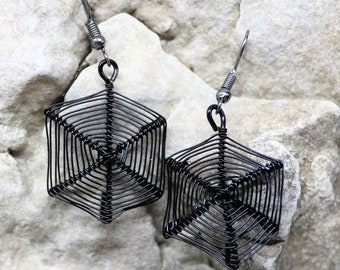 Spider Web  Earrings, Handmade Wire Wrapped Costume Accessory, Halloween Party Jewelry, Spooky Earrings, Gift for Her