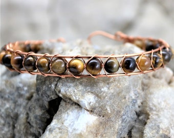 Golden Tiger Eye Sterling Silver Wire Wrap Bracelet, Copper Wrapped Healing Stone Accessory Unique Handmade Unisex Jewelry Gift