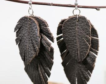 Brown Leather Feather Earrings, Boho Chic, Bohemian Style, Gypsy Earring, Natural Earrings, Handmade Teardrop Leather Earrings, Gift for Her