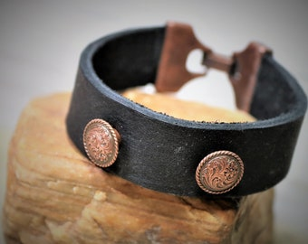 Leather Western Style Vintage Copper Studded Hook Closure Bracelet, Gender Neutral Jewelry Accessory Gift for Her or Him