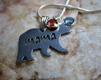 Personalized Mama Bear Necklace, Mom Children Birthstone Necklace, Grandmother Birthday Christmas Gift, Sister, Aunt Gifts, Mothers Day
