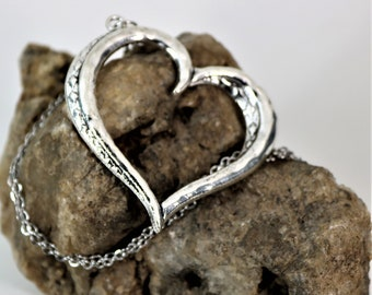 long Open Heart with Diamond Etched Pendant Necklace