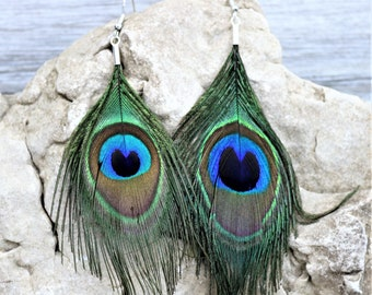Natural Peacock Feather Earrings, Blue green Feather Boho Chic Style  Natural Jewelry, Gypsy Festival Accessories Gift for Her