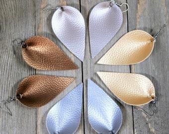 Faux Leather Leaf Pinch Pleated Drop Earrings, Teardrop Dangle Jewelry, Metallic Bronze, Bohemian Style, Gift Set for Her