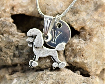 Silver Personalized Poodle Dog Necklace, Dog lover Necklace with Initial, Gift for Her, Gift for Him