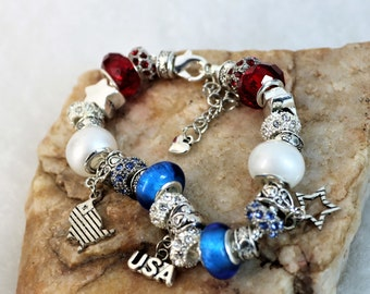 Charm Bracelet Large Hole Bead Pandora Style Patriotic Bracelet, American Red White and Blue USA Flag Themed Jewelry Accessory, Gift for Her