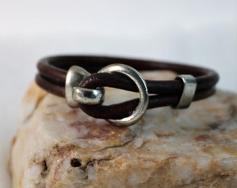 Leather Hook Bracelet,  Unisex Style, Copper Bronze Silver Easy Clasp, Brown Black White Natural Accessory Gift for Him Her