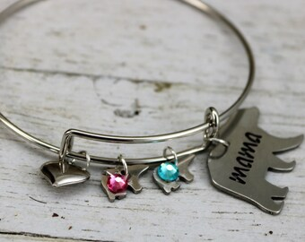 Mama Bear Baby Bear Personalized Birthstone Bracelet, Mom Grandmother Sister Aunt Birthday Accessory Gift, Mothers Day Unique Custom Jewelry
