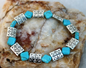 Turquoise and Silver Bracelet, Southwest Style Bracelet, Boho Chic, Tribal  Etched Beads, Gender Neutral Jewelry, Gift for Her, Gift for Him