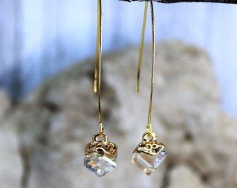Wishbone Cube Champagn Dangle Drop Earrings, Formal Wear Square Bead Accessory, Classic Unique Gold Jewelry, Gift for Her,