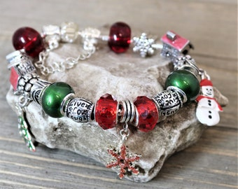 Christmas Charm Bracelet with Large Red and Green Pandora Style Euro Beads, Snowflake Beads Holiday Charms Bracelet, Gift for Her