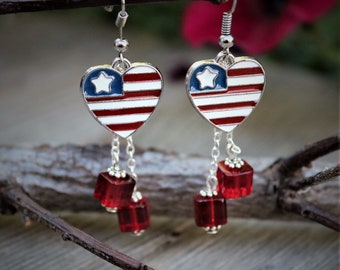 Red White And Blue Heart Earrings