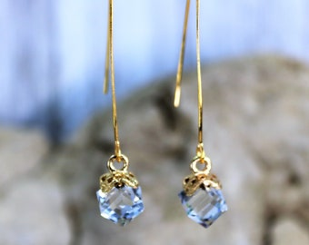 Wishbone Cube AB Clear Birthstone Drop Earrings, Formal Wear Square Bead Accessory, Classic Unique Gold Jewelry, Gift for Her