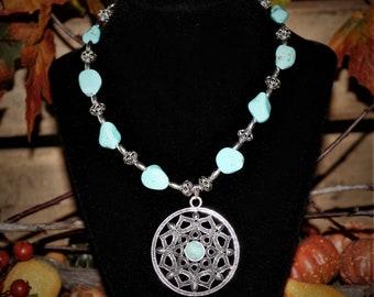 Southwestern Turquoise Necklace, Boho Turquoise Pendant Necklace, Turquoise Nugget Necklace, Turquoise Magnesite Necklace, Gift for Her