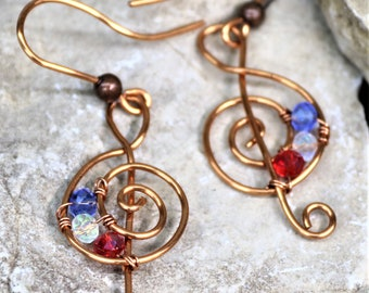 Copper Wire Treble Clef Earrings, Handmade Wrapped Accessories, Music Note Beaded Dangle Jewelry, Gift for Her