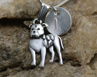 Silver Personalized Pit Bull Dog Necklace, Dog lover Necklace with Initial, Gift for Her, Gift for Him