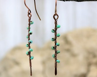 Copper Wire Wrapped Turquoise Beaded Earrings, Handmade  Hammered Accessories, Vine Pattern Bar Dangle Jewelry, Gift for Her