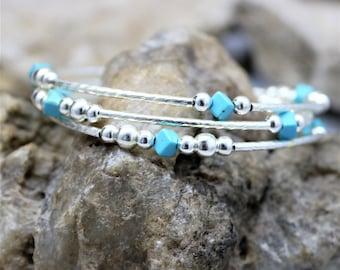 Silver Turquoise Stack Style Bracelet, Memory Wire 3 Wrap Western Bohemian Accessory Jewelry Gift for Her, Fresh Fashion Boho Style