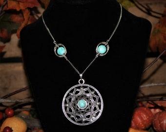 Turquoise Disc Pendant Necklace