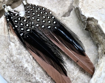Natural Feather Earrings, Brown Feather Earrings, Natural Boho Chic Style Western Jewelry, Small Gypsy Festival Accessories, Gift for Her
