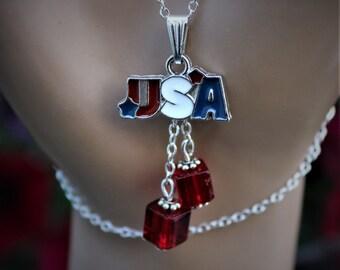 Patriotic USA Necklace
