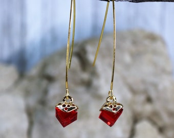 Wishbone Cube July Red Birthstone Drop Earrings, Formal Wear Square Bead Accessory, Classic Unique Gold Jewelry, Gift for Her