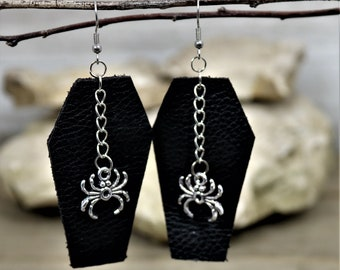 Leather Coffin  Earrings,  Halloween Trick or Treat Skeleton Dangle, Ghost Charm, Jolly Roger Drop, Silver Spider Jewelry, gift for Her