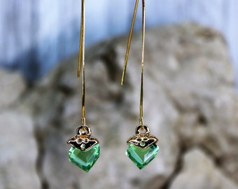 Wishbone Cube August Light Green Birthstone Drop Earrings, Formal Wear Square Bead Accessory, Classic Unique Gold Jewelry, Gift for Her