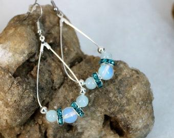 Aquamarine and Opal Teardrop Earrings