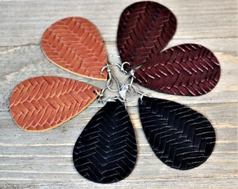 Herringbone Weave Leather Teardrop Dangle  Earrings, Leather Teardrop Jewelry,  Bohemian Style Vegan ,  Gift for Her, Stocking Stuffer