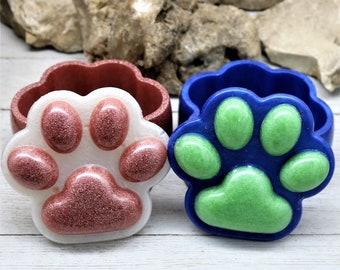 Resin Paw Print Trinket Box, Multiple Color Handmade Home Decor Vanity Dresser Table accent Dog Lover Gift for Her or Him