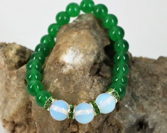 Jade and Opal Stretch Bracelet, Healing Stone Bracelet, Natural Jade Bracelet, Gift for Her, May Birthday