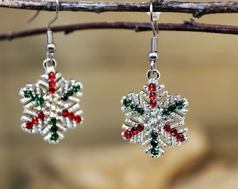 Silver Snowflake Winter Holiday Dangle Earrings with White Green and Red Crystals, Festive and Fun Christmas Jewelry, gift for Her