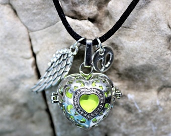 Angel Caller, Harmony Ball Heart in Heart Pendant, Pregnancy Necklace, Remembrance Keepsake, Maternity Baby Gift, Expecting Mom Gift for Her
