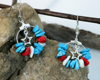 Patriotic Red White and Blue Turquoise Chip and Stars Hoop Earrings