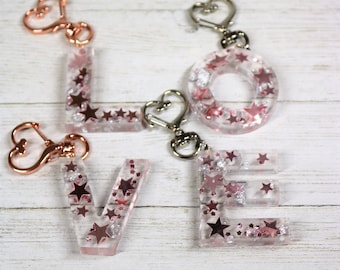 Personalized Rose Gold Letter Resin Keychain, Alphabet School Bag Fun Clip On, Stocking Stuffer Valentines Day Gift for Her