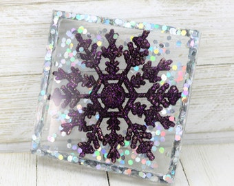 Resin Holiday Coaster, Purple Snowflake Silver Glitter Trinket Tray, Sparkly Winter Home Decoration, Christmas Gift for the Home
