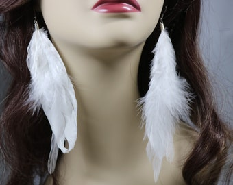 Natural long White Feather Earrings, White Feather Boho Chic Accessories, Breezy Fun Flirty Dangle Jewelry, Feather Earrings, Gift for Her