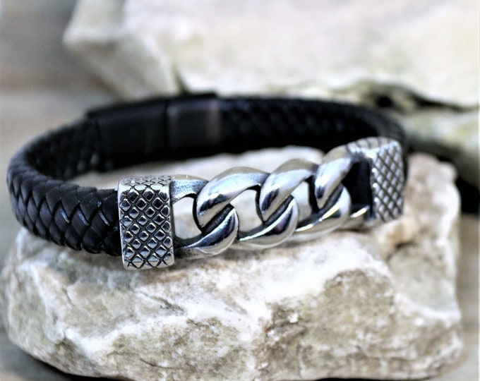 Featured listing image: Braided Leather and Polished Steel Bulky Cable Chain Magnetic Hook Closure Bracelet, Unique Men's Jewelry, Boyfriend Bracelet,  Gift for Him