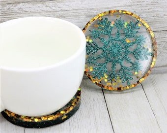 Resin Holiday Coaster, Teal Snowflake Gold Glitter Trinket Tray, Rose Gold Sparkly Winter Home Decoration, Christmas Gift for the Home