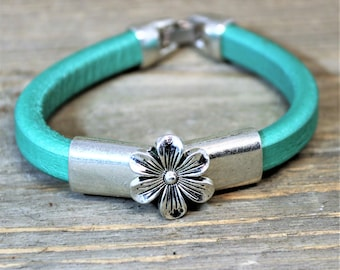 Licorice Leather Flower Silver Stainless Steel Bracelet , Pearlized Pink Teal or Gold Leather Jewelry, Ladies Leather, gift for her