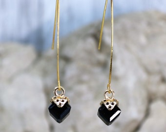 Wishbone Cube Black and Gold Birthstone Drop Earrings, Formal Wear Square Bead Accessory, Classic Unique Gold Jewelry, Gift for Her