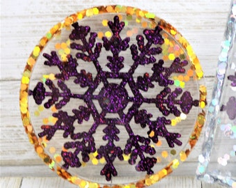 Resin Holiday Coaster, Purple Snowflake Gold Glitter Trinket Tray, Sparkly Winter Home Decoration, Christmas Gift for the Home